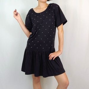 Vintage Dresses - Vintage drop waist t-shirt dress with stud accents